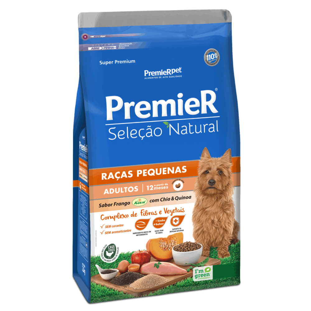 Ração Premier Seleção Natural Frango, Chia e Quinoa para Cães Adultos de Raças Pequenas  - Focinharia
