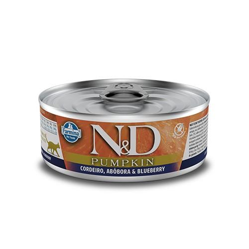 Ração Úmida Farmina N&D Pumpkin Cordeiro e Blueberry para Gatos Adultos 80 g  - Focinharia