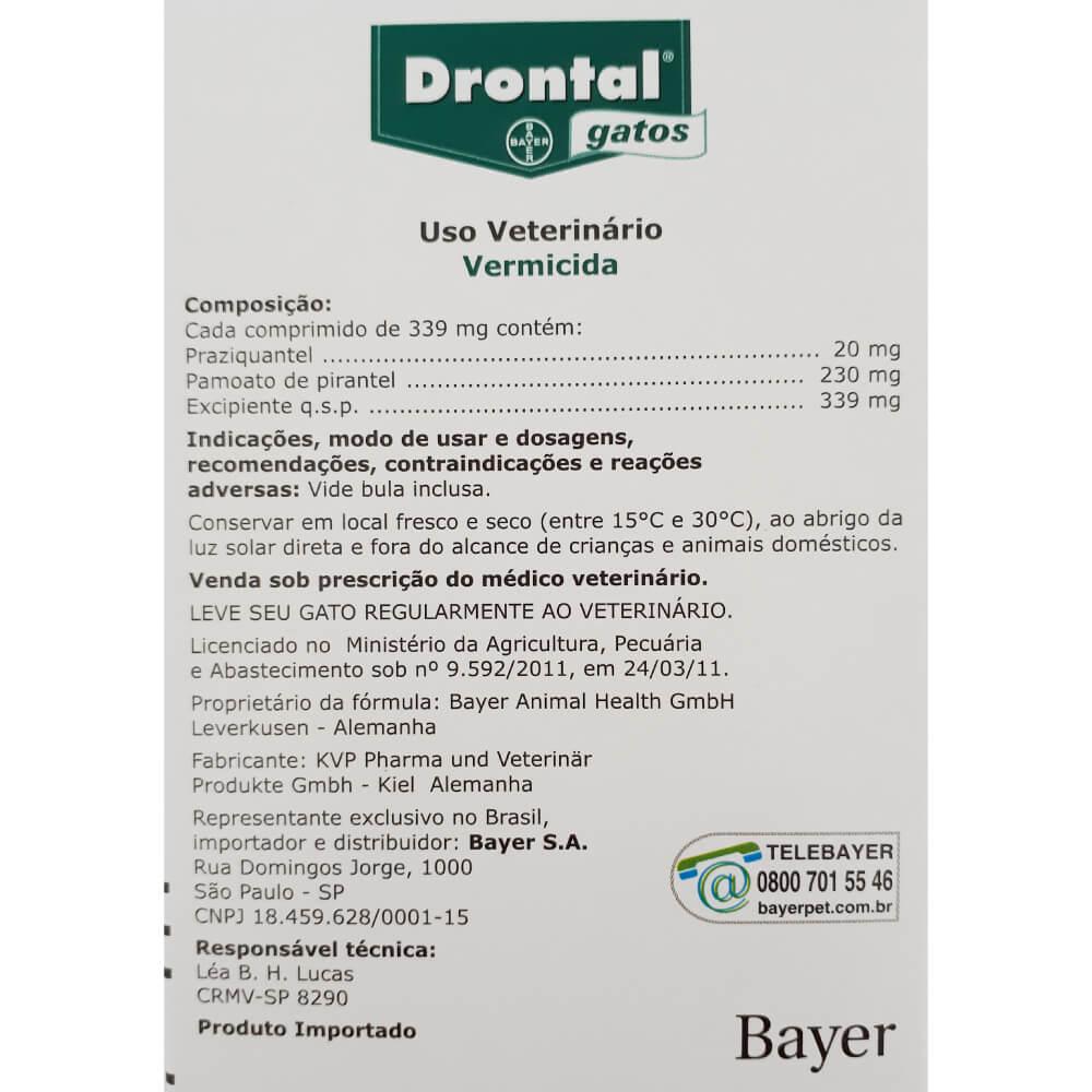Vermífugo Bayer Drontal Gatos com 4 Comprimidos  - Focinharia
