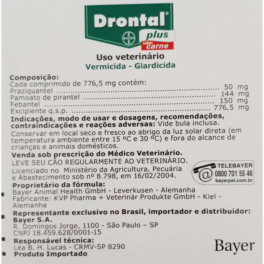 Vermífugo Bayer Drontal Plus Sabor Carne para Cães - 10 Kg  - Focinharia