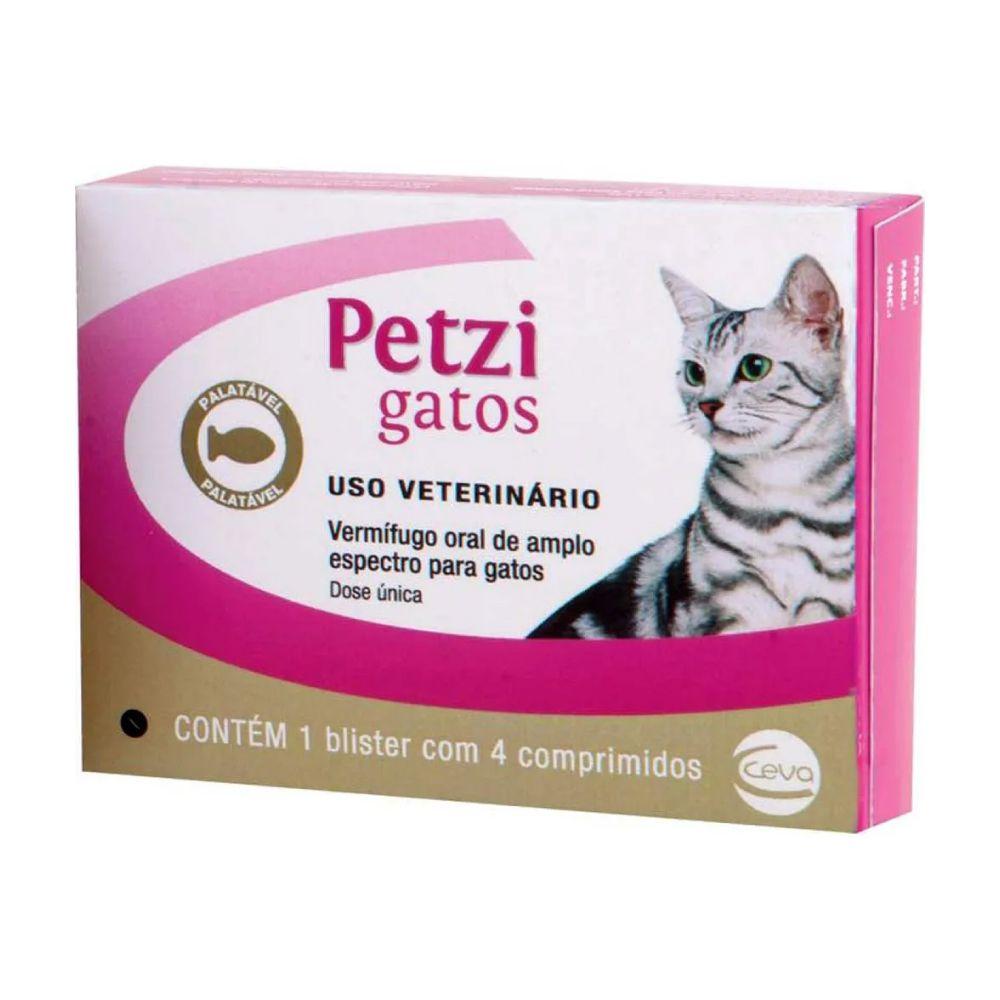 Vermífugo Ceva Petzi Gatos com 4 Comprimidos  - Focinharia