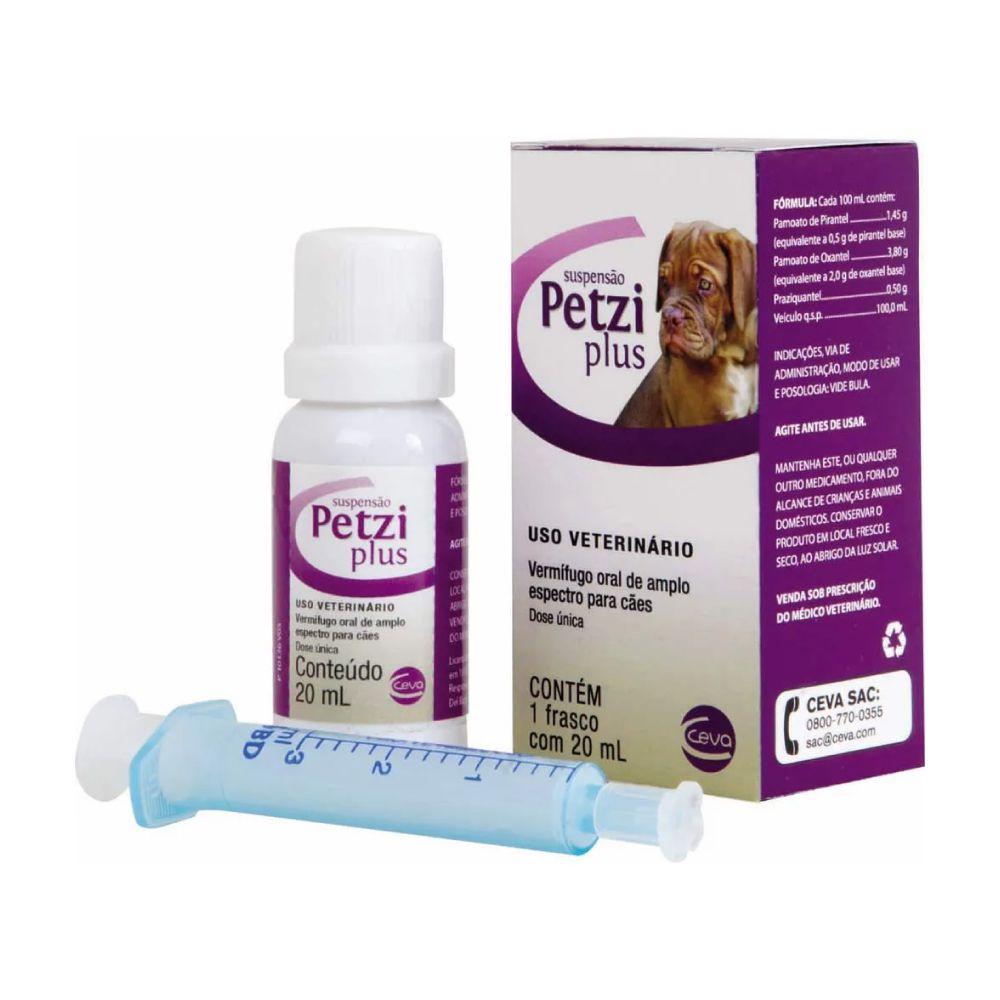 Vermífugo para Cães Ceva Petzi Plus Suspensão 20 mL  - Focinharia