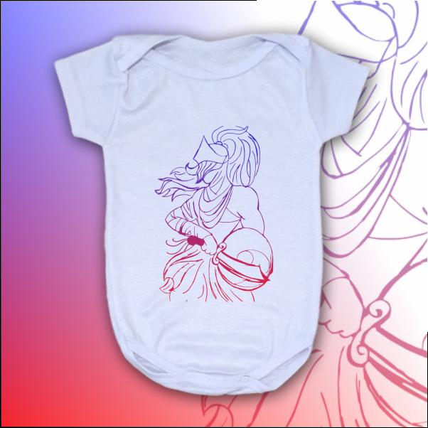 Body Infantil - Ogum vetorizado azul e vermelho