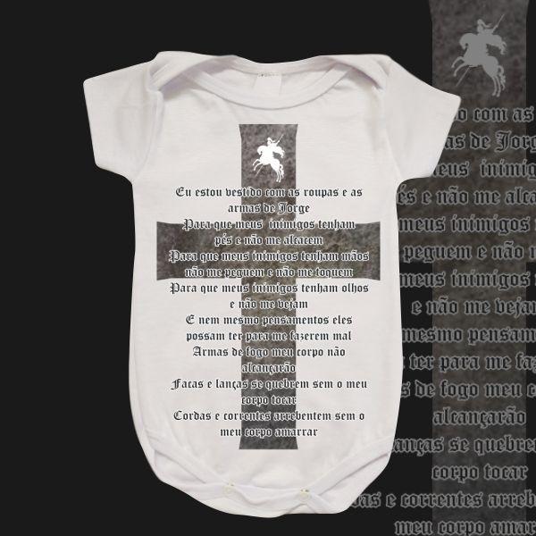 Body Infantil - São Jorge - Oração e Cruz preta