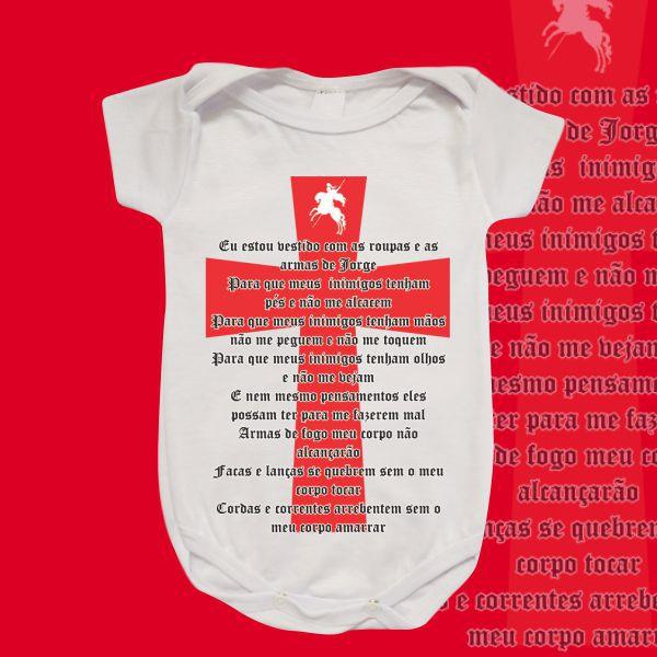 Body Infantil - São Jorge - Oração e Cruz vermelha