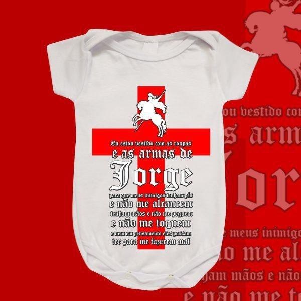 Body Infantil - São Jorge - Oração e Cruz vermelha simples