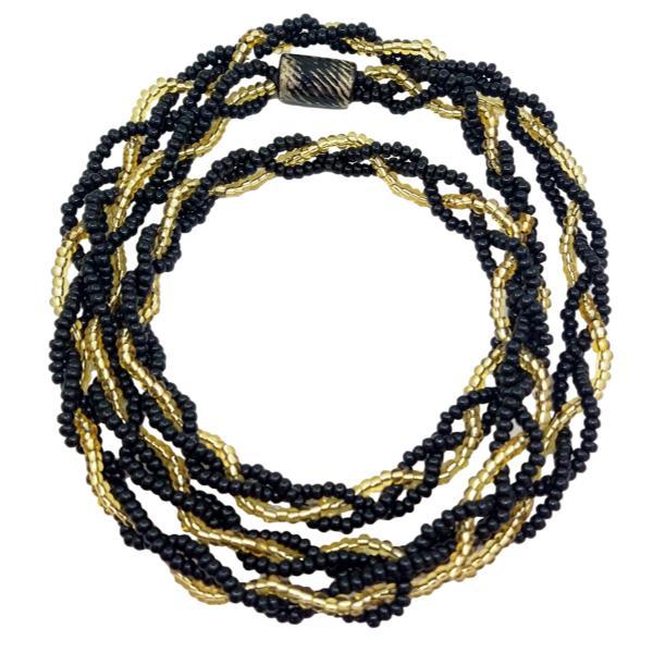 Brajá de Exu/Pombagira com 3 fios trançados - miçanga importada