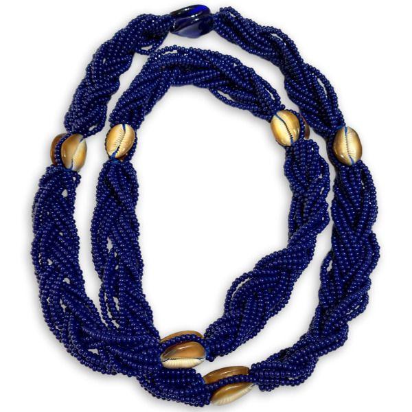 Brajá de Ogum 12 fios com buzios africanos naturais - miçangas importadas