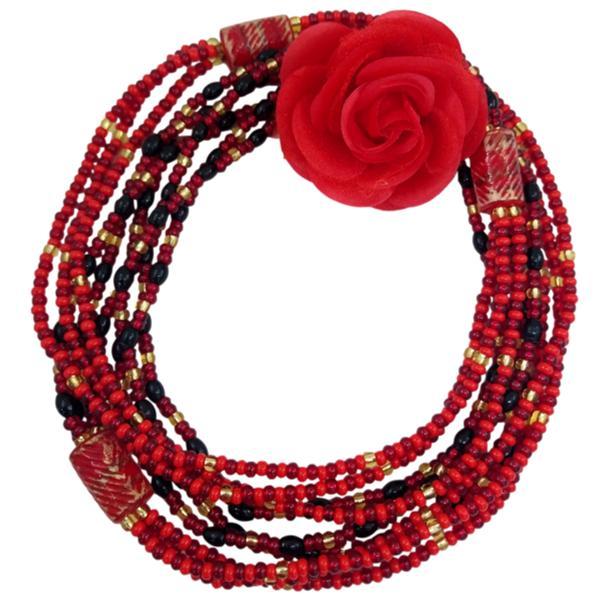 Brajá de Pombagira com 3 fios e Rosa de tecido - miçanga importada