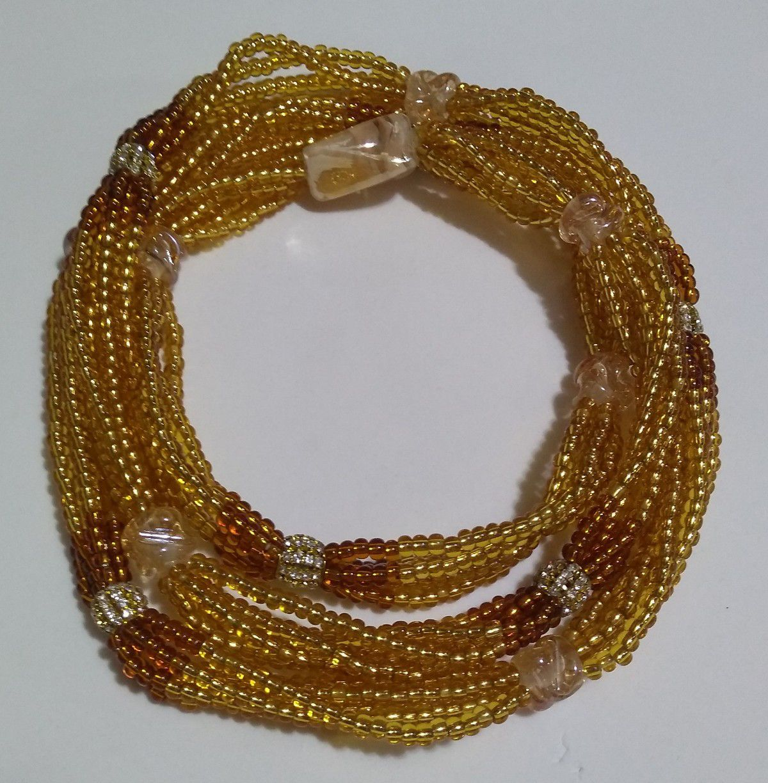 Braja de Oxum com 5 fio e strass e firma dourada - miçanga importada
