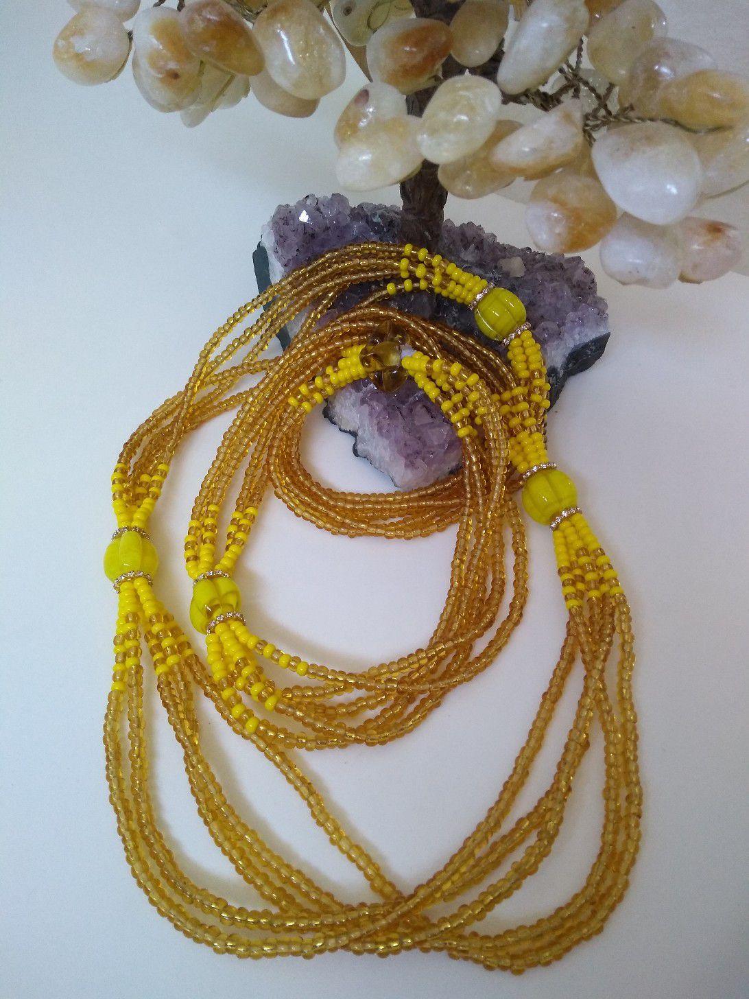 Brajá de Oxum com 5 fio e strass dourado - miçanga importada