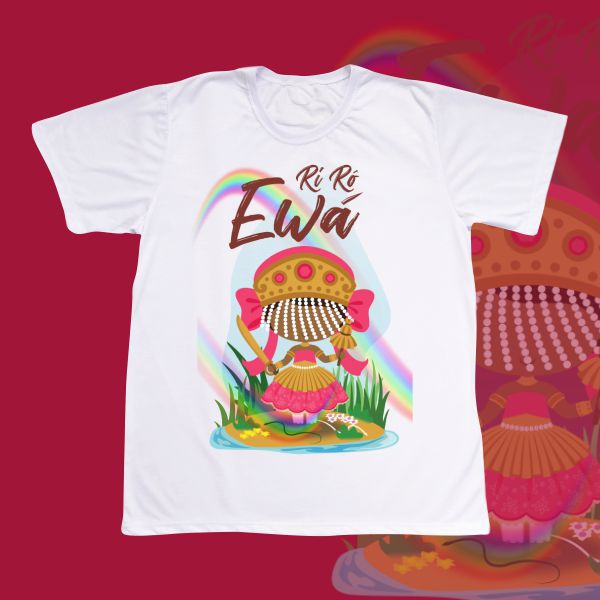 Camiseta Ewá com franja e com cenário