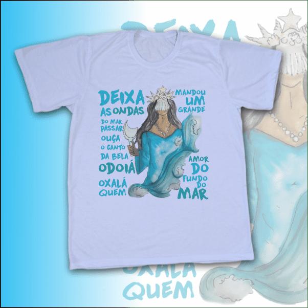 Camiseta Adulto -  Iemanjá Aquarela com ponto
