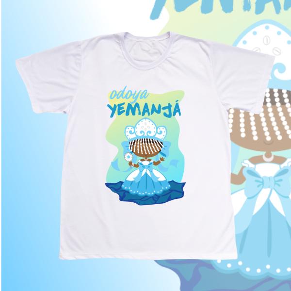 Camiseta Adulto -  Iemanjá com franja e cenário dia