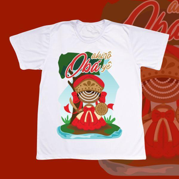 Camiseta Adulto -  Obá com franja e com cenário