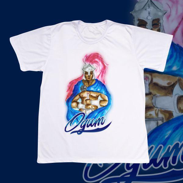 Camiseta Adulto -  Ogum aquarela azul