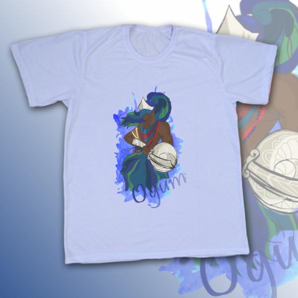 Camiseta Adulto -  Ogum colorido com mancha