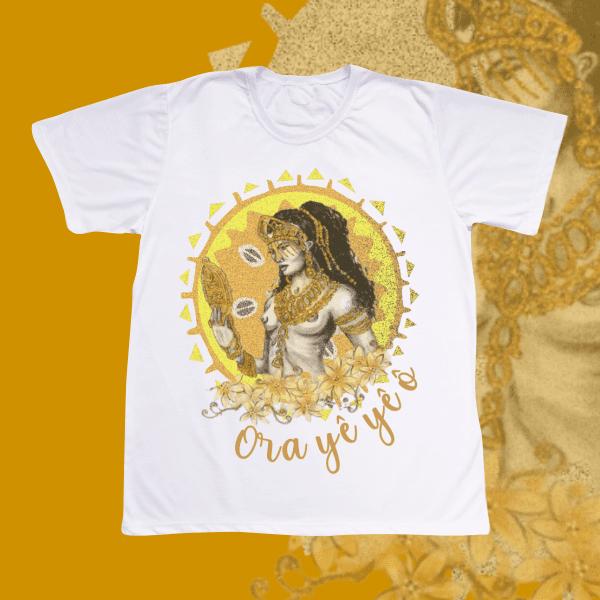 Camiseta Oxum Estilizado Dourado