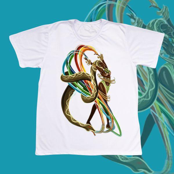 Camiseta Adulto -  Oxumare desenho Feminino com Arco Iris e Cobra