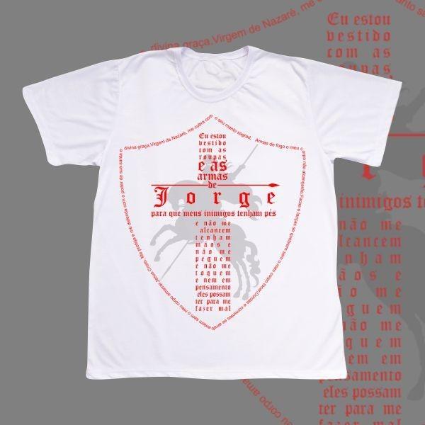 Camiseta Adulto -  São Jorge - Escudo Oração completa