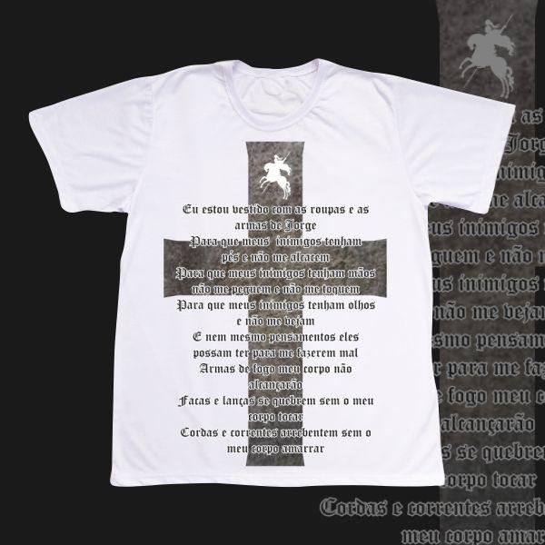 Camiseta Adulto -  São Jorge - Oração e Cruz preta