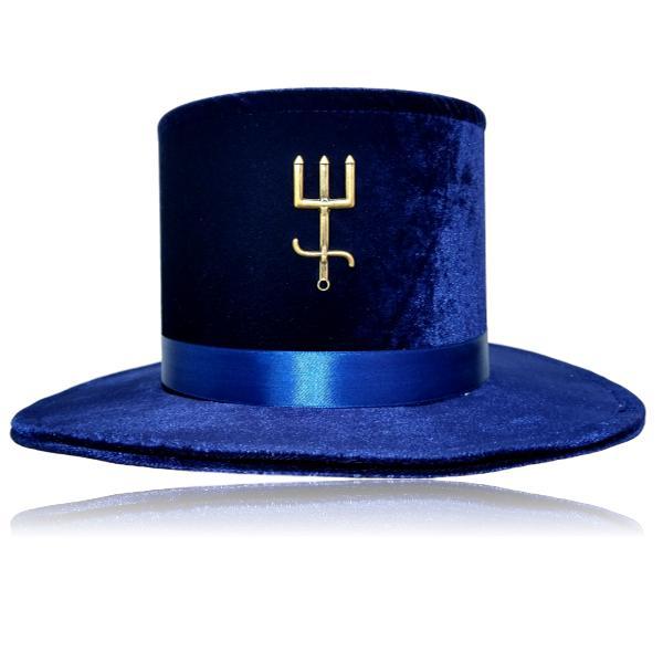 Cartola de veludo alta com tridente ouro velho e fita de cetim azul