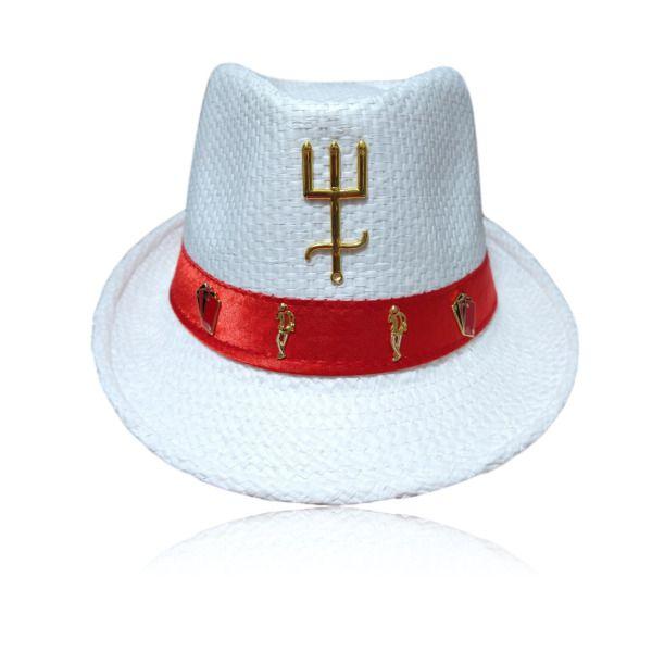 Chapéu Panamá de malandro com tridente dourado