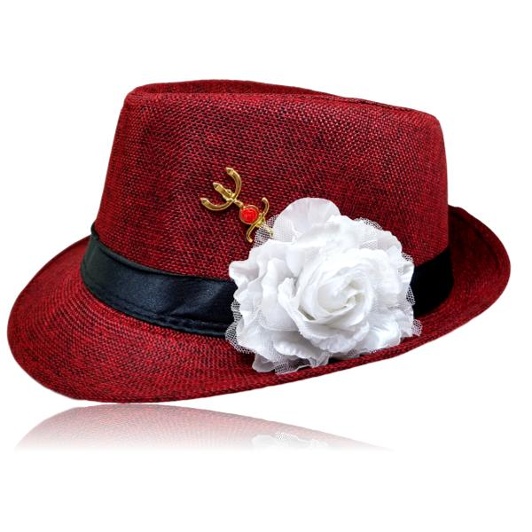 Chapéu Panamá de Pombagira com rosa e tridente