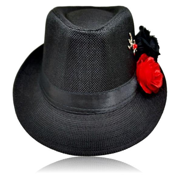 Chapéu Panamá de Pombagira com rosas preta, vermelha e tridente