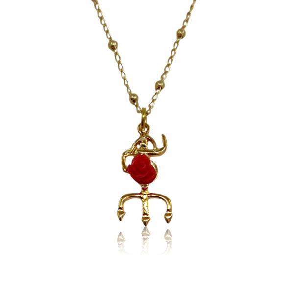 Colar Tridente de Pombagira com rosa vermelha - dourado