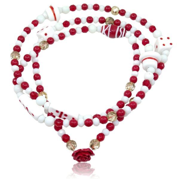 Guia de Malandra com porcelana e rosa vermelha