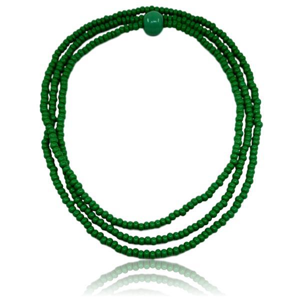 Guia de Oxossi com miçanga verde importada 5/0