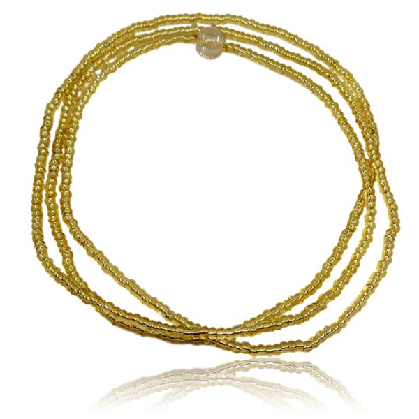 Guia de Oxum com miçanga importada ouro novo 5/0
