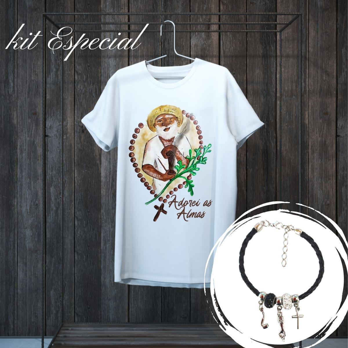 Kit de Preto Velho - Pulseira e Camiseta