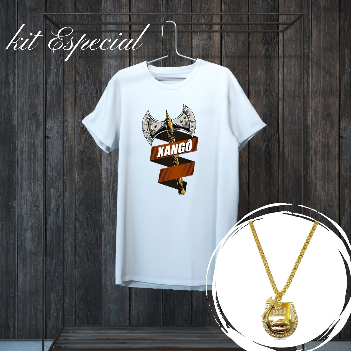Kit de Xangô - Colar Patuá e Camiseta