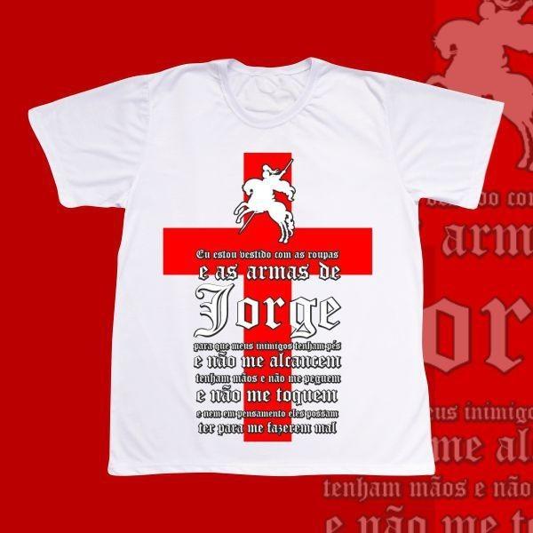Camiseta Adulto -  São Jorge - Oração e Cruz vermelha simples