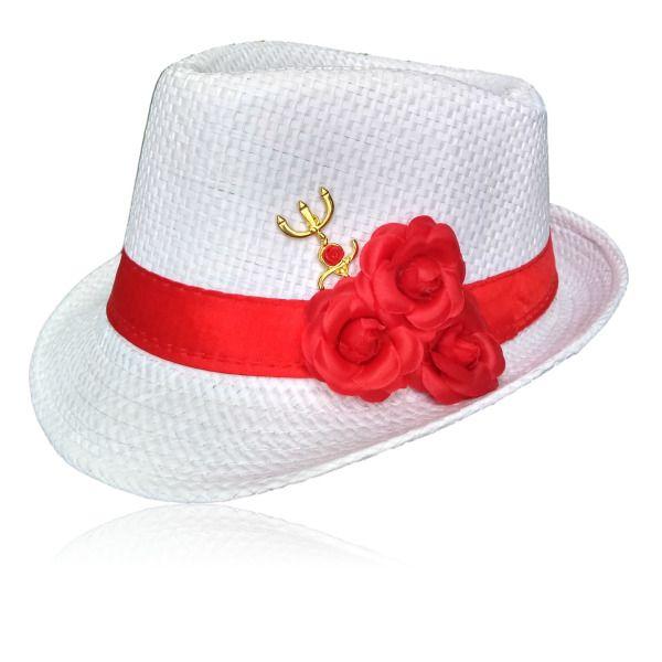 Chapéu Panamá de Pombagira com rosa vermelha e tridente