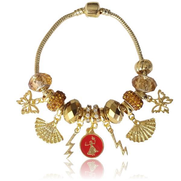 Pulseira de Iansa com berloques e entremeios dourados