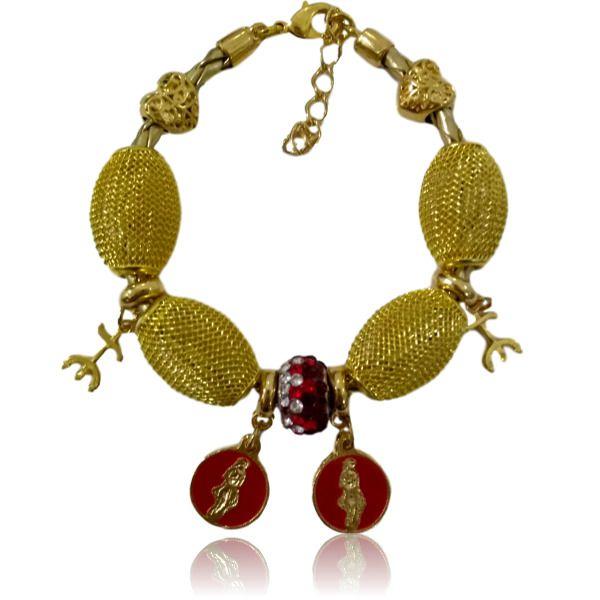 Pulseira de Pombagira com couro dourado medalhas e tridente