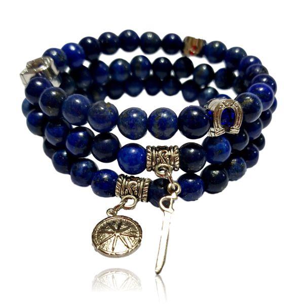 Pulseira Mix de Ogum com Pedra Lapis Lazuli