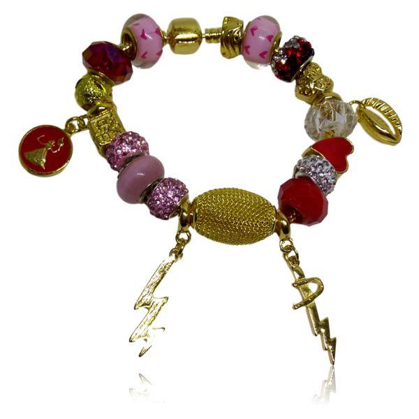 Pulseira Pandora de Iansa com entremeios vermelhos e rosas