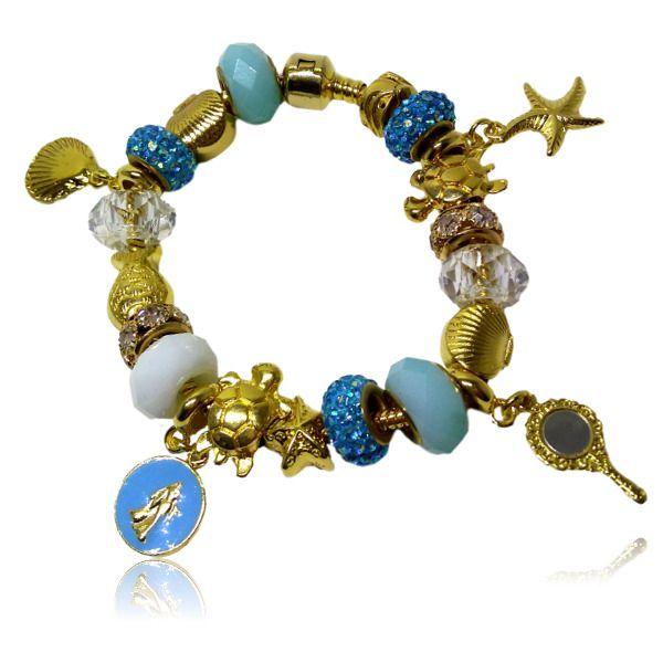 Pulseira Pandora de Iemanja completa com berloques - dourada