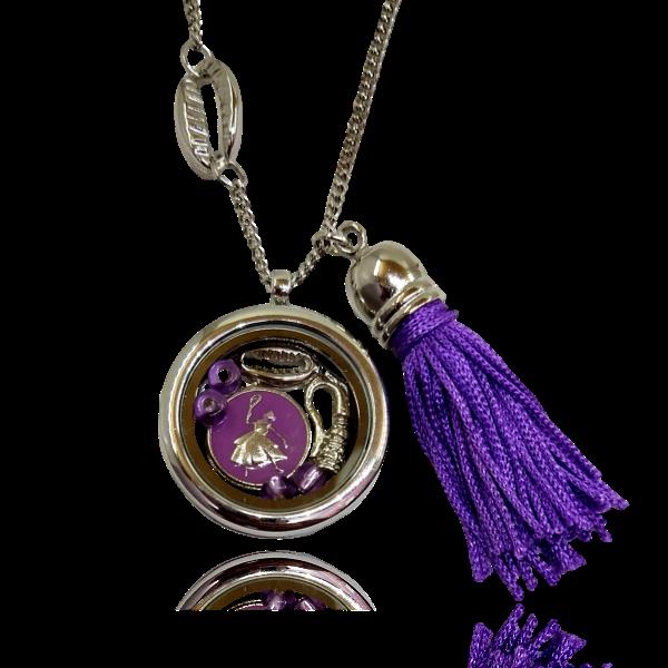 Relicário de Nanã com búzio e franja lilás