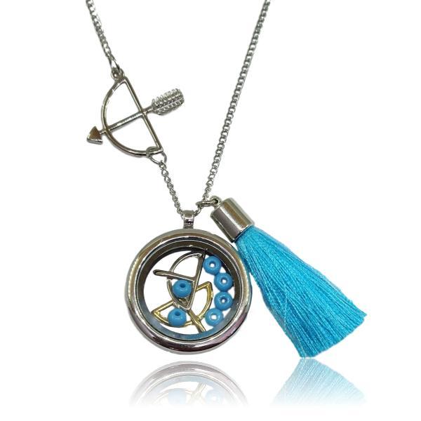 Relicário de Odé com Ofá e franja azul