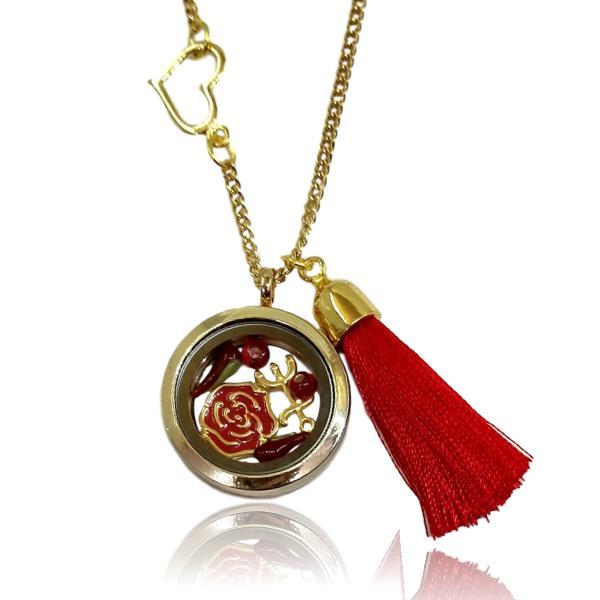 Relicário de Pombagira com rosa, tridente e pimenta