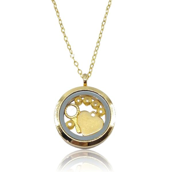 Relicário dourado de Oxum, abebé e coração