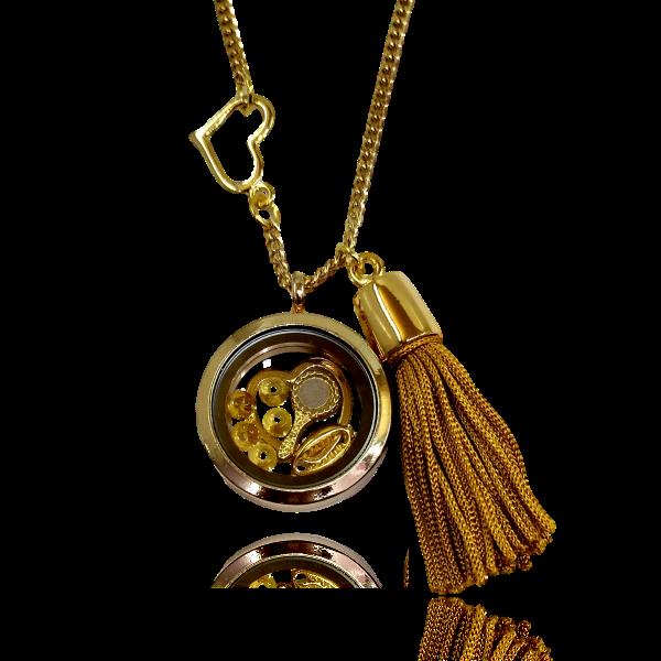 Relicário dourado de Oxum com Coração e Franja dourada
