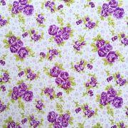 Folha de EVA com Tecido Floral Lilás
