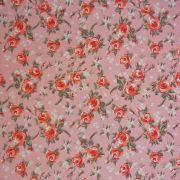 Folha de Eva Com Tecido Floral Rosa Bebê com Vermelho 40x30 cm
