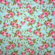 Folha de Eva Com Tecido Floral Verde Água 40x30 cm